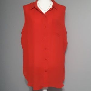 Liz Clairborne Woman Blouse 1X Red